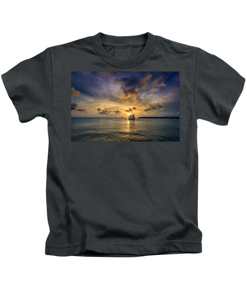 Key West Florida Sunset Mallory Square Kids T-Shirt
