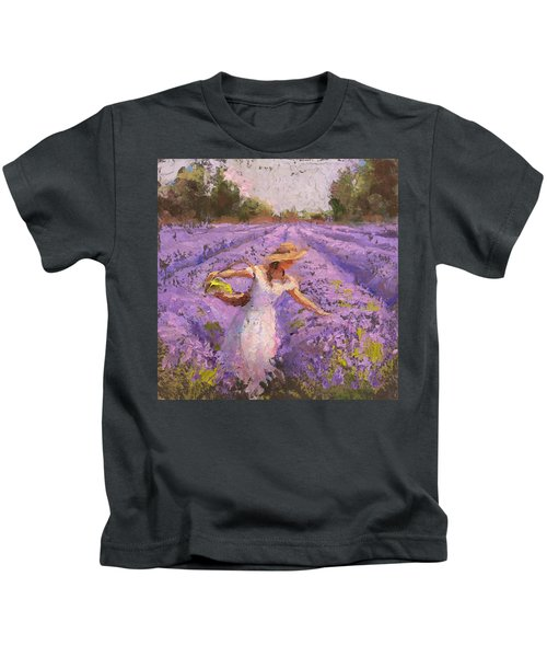 Woman Picking Lavender In A Field In A White Dress - Lady Lavender - Plein Air Painting Kids T-Shirt