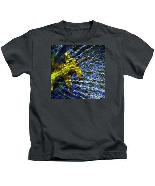Leaf In Creek - Blue Abstract Kids T-Shirt