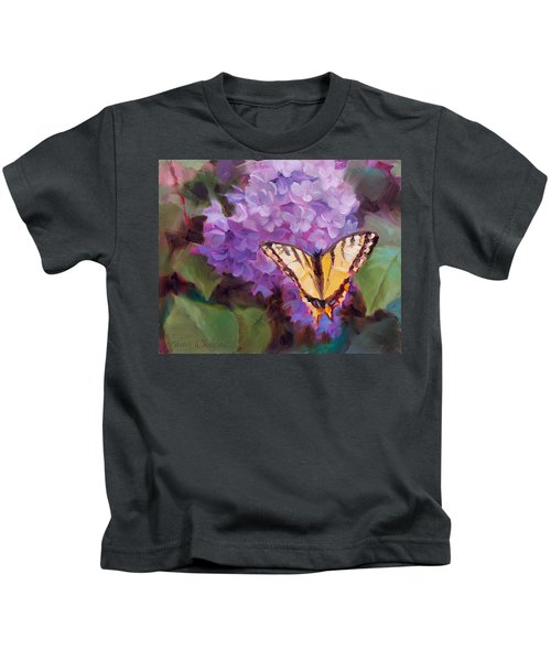 Lilacs And Swallowtail Butterfly Purple Flowers Garden Decor Painting  Kids T-Shirt