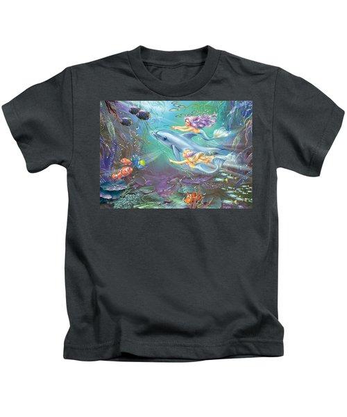 Little Mermaids And Dolphin Kids T-Shirt