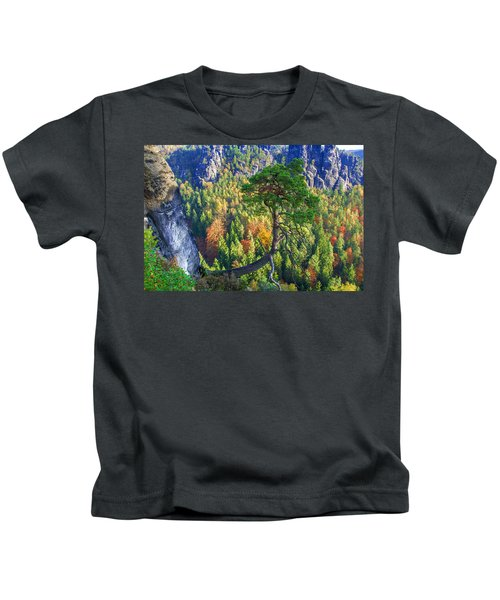 Lonely Tree In The Elbe Sandstone Mountains Kids T-Shirt