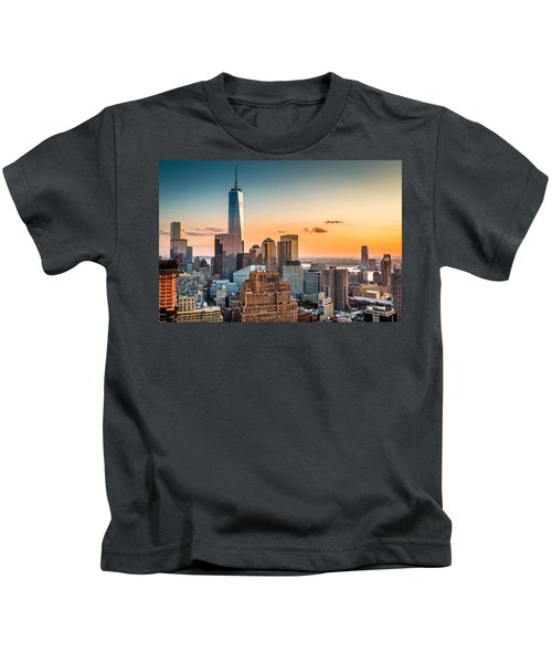 Lower Manhattan At Sunset Kids T-Shirt