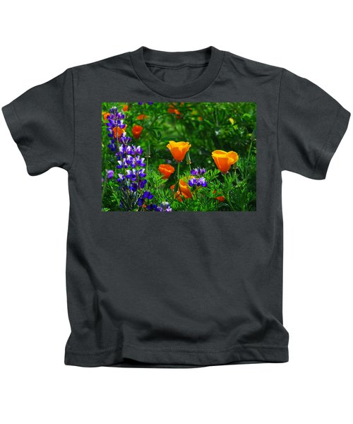 Lupines And Poppies Kids T-Shirt