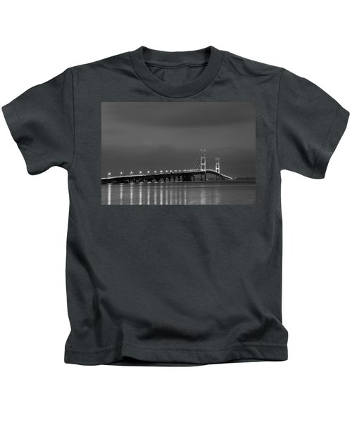 Mackinac Bridge Black And White Kids T-Shirt