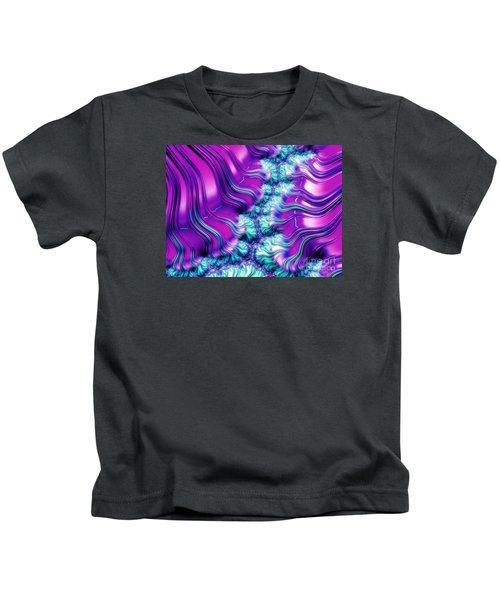 Magenta And Aqua Soft Fractal Abstract Kids T-Shirt