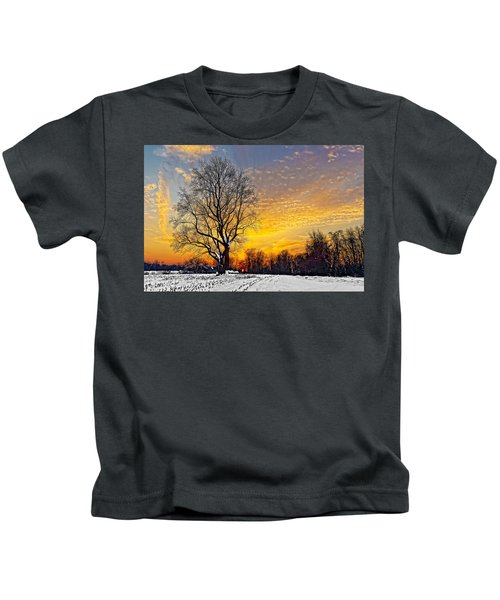 Kids T-Shirt featuring the photograph Magical Winter Sunset by William Jobes