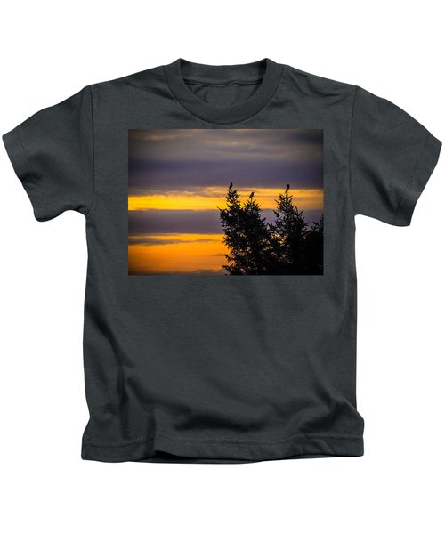 Magpies At Sunrise Kids T-Shirt