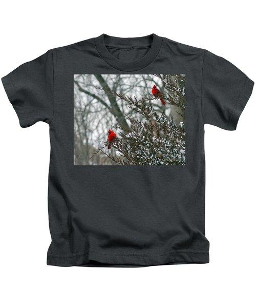 Male Cardinal Pair Kids T-Shirt