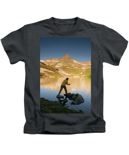 Man Fishing In Ice Lake Kids T-Shirt
