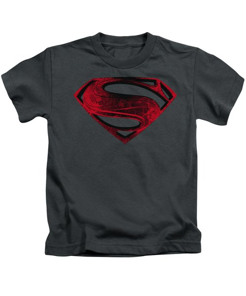 Man Of Steel - Red And Black Glyph Kids T-Shirt