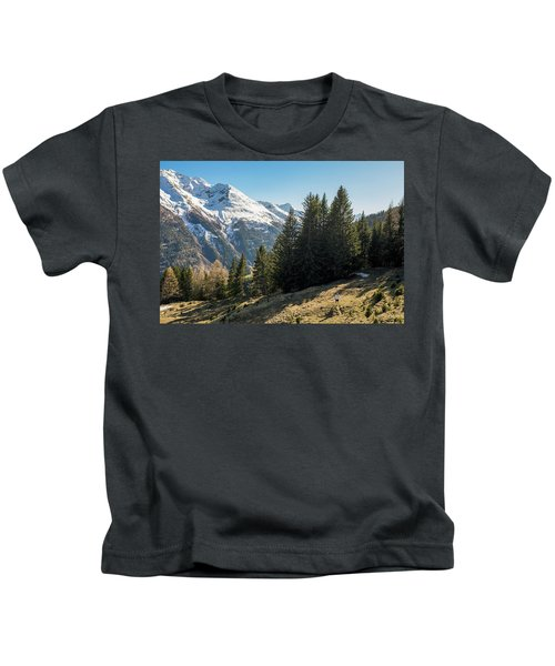 Man Trail Running In The Mountains Kids T-Shirt