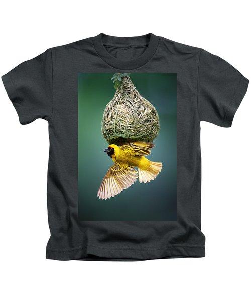 Masked Weaver At Nest Kids T-Shirt