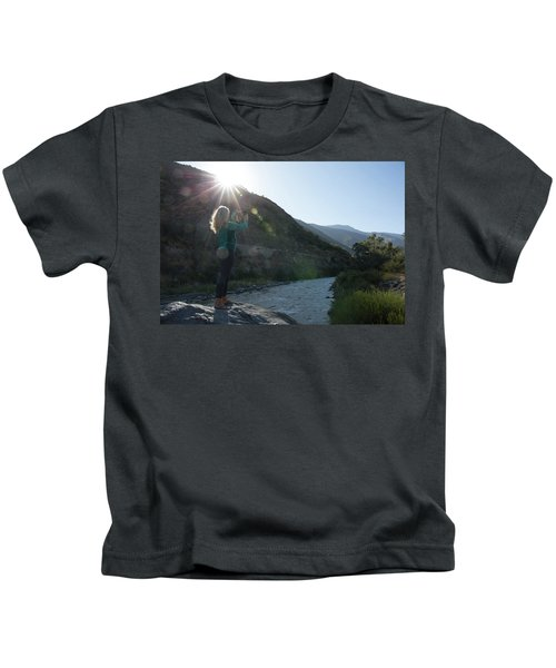Mature Woman Takes Photo From Boulder Kids T-Shirt