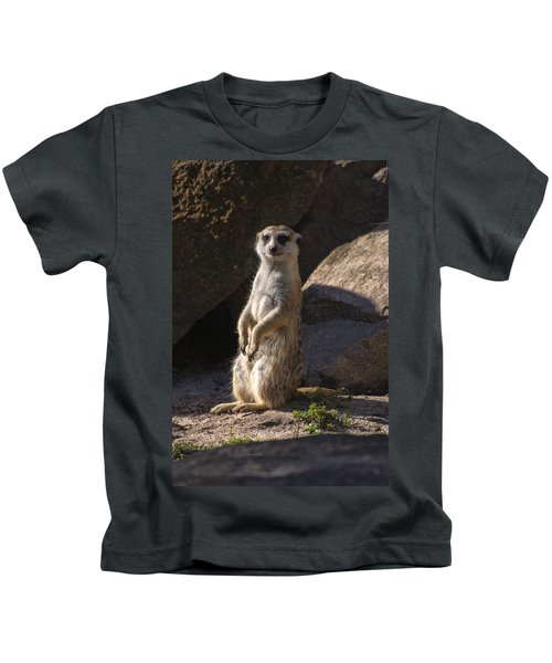 Meerkat Looking Forward Kids T-Shirt by Chris Flees