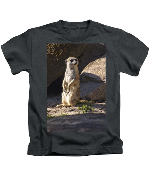 Meerkat Looking Left Kids T-Shirt by Chris Flees