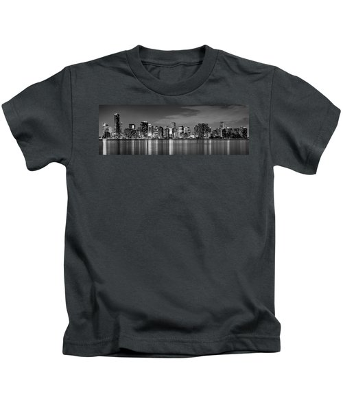 Miami Skyline At Dusk Black And White Bw Panorama Kids T-Shirt