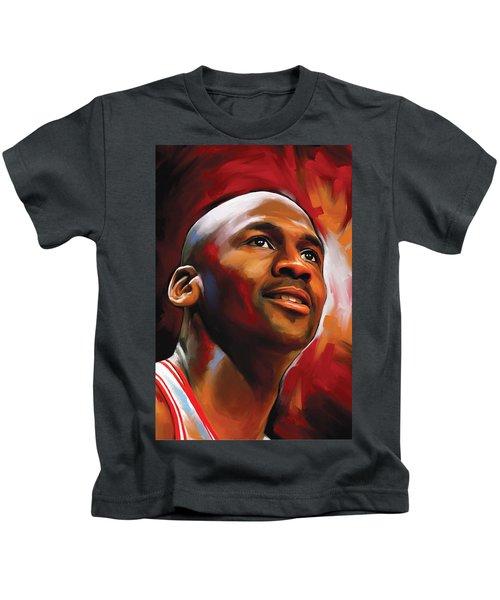 Michael Jordan Artwork 2 Kids T-Shirt by Sheraz A