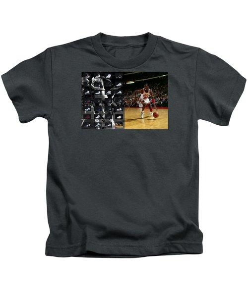 Michael Jordan Shoes Kids T-Shirt by Joe Hamilton