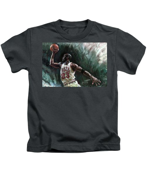 Michael Jordan Kids T-Shirt by Ylli Haruni