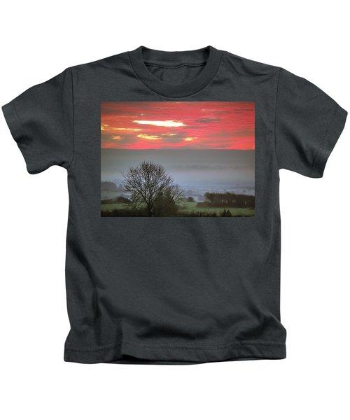 Kids T-Shirt featuring the photograph Misty Morning Sunrise Over Western Ireland by James Truett