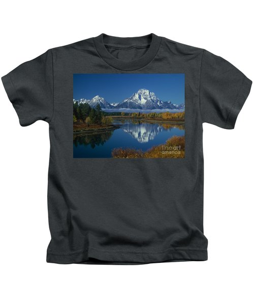 Morning Cloud Layer Oxbow Bend In Fall Grand Tetons National Park Wyoming Kids T-Shirt