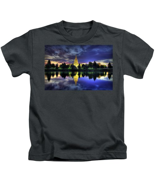 Morning Reflections Of Idaho Falls Temple  Kids T-Shirt