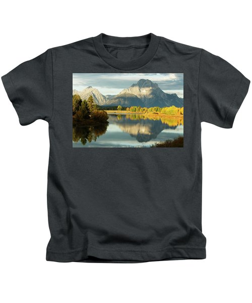 Mt. Moran Reflected In The Snake River Kids T-Shirt