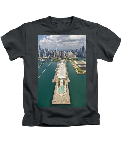 Navy Pier Chicago Aerial Kids T-Shirt by Adam Romanowicz