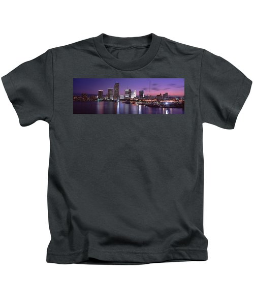 Night Skyline Miami Fl Usa Kids T-Shirt