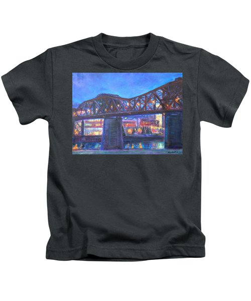 City At Night Downtown Evening Scene Original Contemporary Painting For Sale Kids T-Shirt