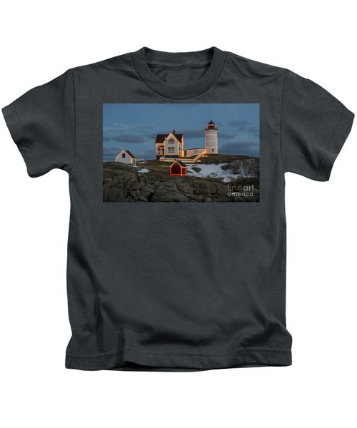 Nubble Lighthouse At Christmas Kids T-Shirt
