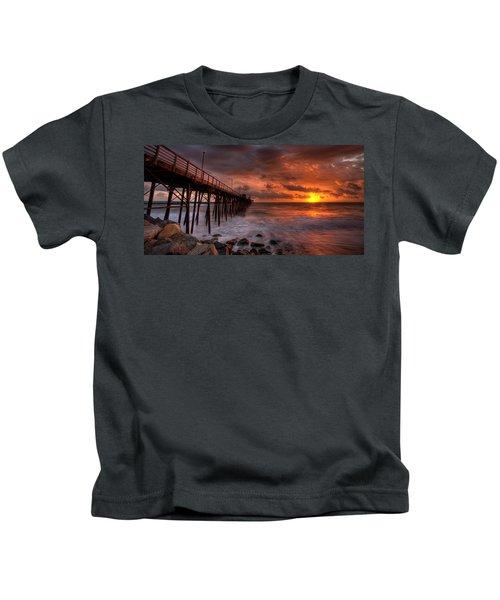 Oceanside Pier Perfect Sunset -ex-lrg Wide Screen Kids T-Shirt