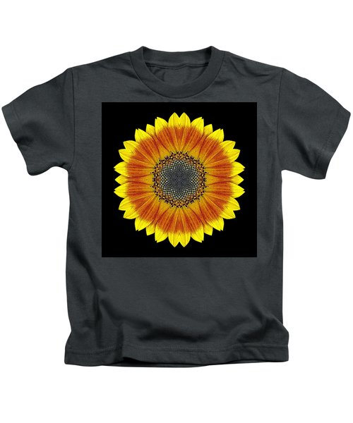 Orange And Yellow Sunflower Flower Mandala Kids T-Shirt