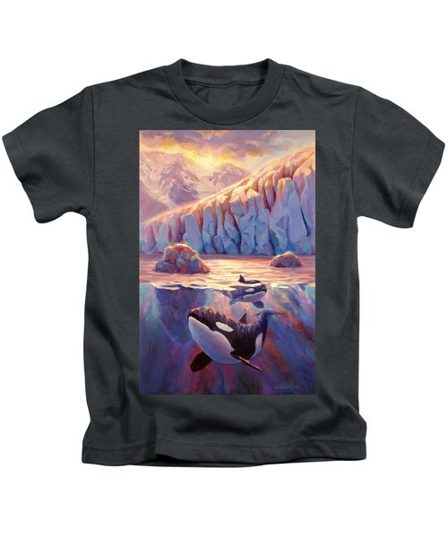 Orca Sunrise At The Glacier Kids T-Shirt