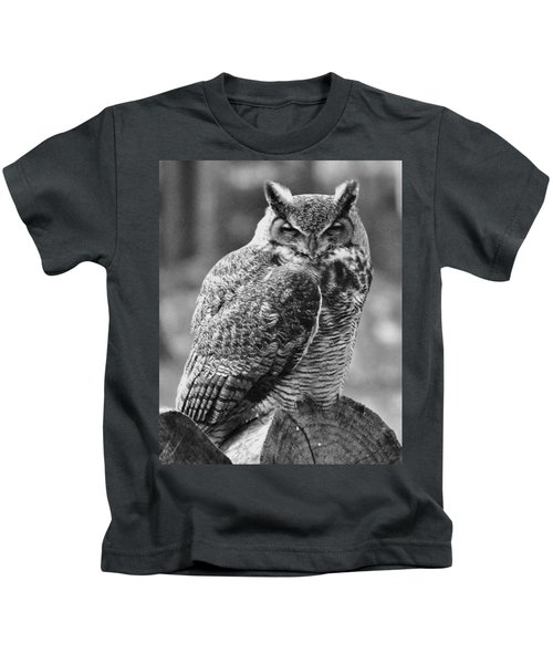 Owl In Black And White Kids T-Shirt