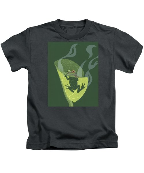 Pacific Tree Frog In Skunk Cabbage Kids T-Shirt by Nathan Marcy