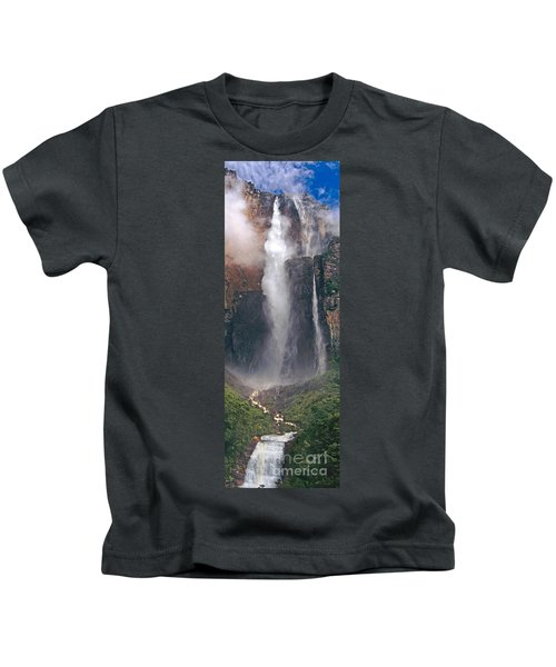 Panorama Angel Falls In Canaima National Park Venezuela Kids T-Shirt