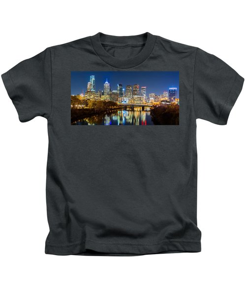 Philadelphia Cityscape Panorama By Night Kids T-Shirt