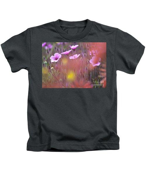 Pink Wild Geranium Kids T-Shirt