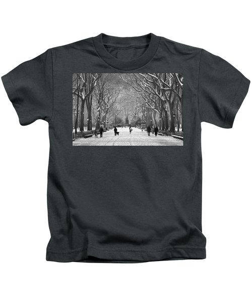 New York City - Poets Walk Winter Kids T-Shirt