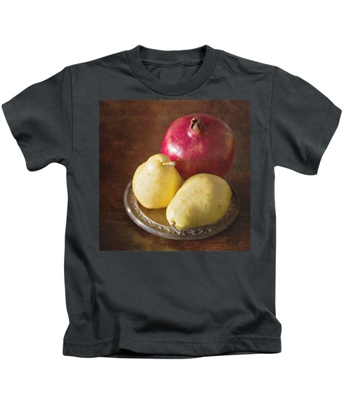 Pomegranate And Yellow Pear Still Life Kids T-Shirt