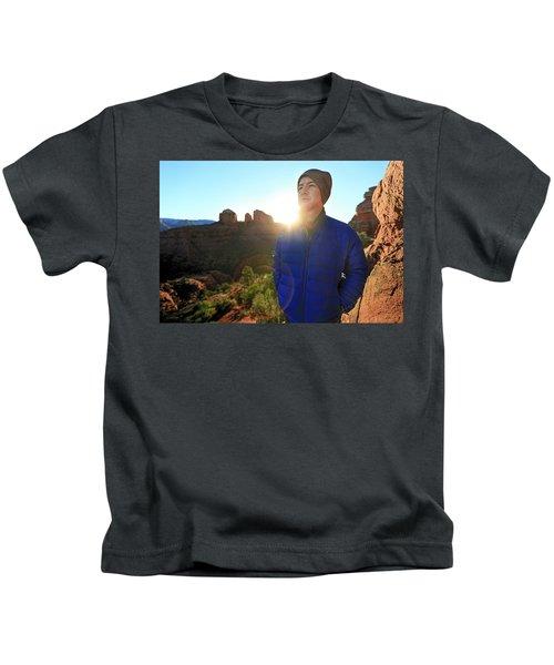 Portrait Of A Male Hiker In Sedona Kids T-Shirt