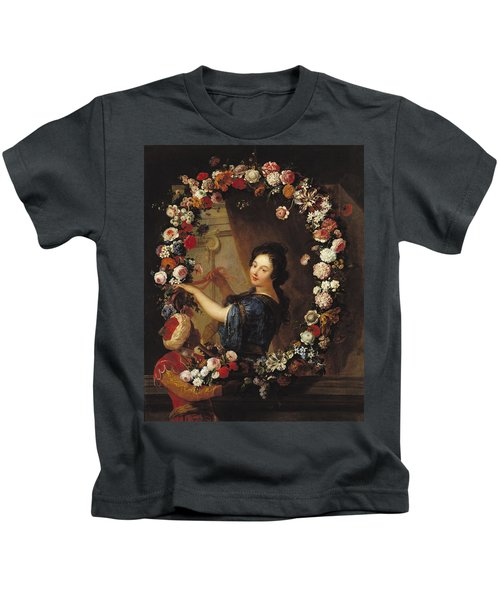 Portrait Of A Woman Surrounded By Flowers, Presumed To Be Julie Dangennes Oil On Canvas Kids T-Shirt