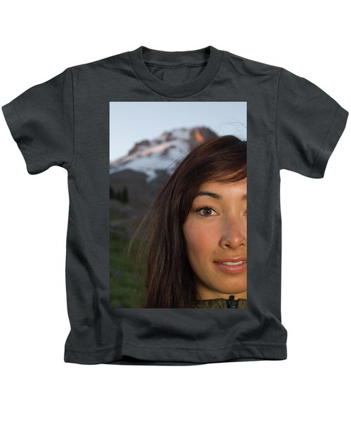 Portrait Of Asian-canadian Snowboarder Kids T-Shirt