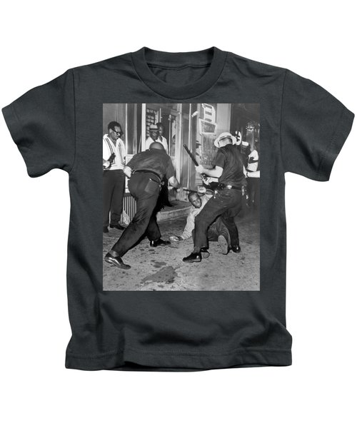 Protester Clubbed In Harlem Kids T-Shirt by Underwood Archives