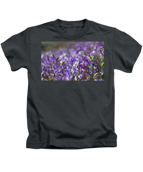 Purple Flower Bed Kids T-Shirt