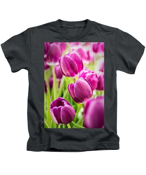 Purple Tulip Garden Kids T-Shirt