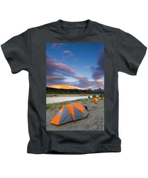 Rafters Camp Along The Alsek River Kids T-Shirt