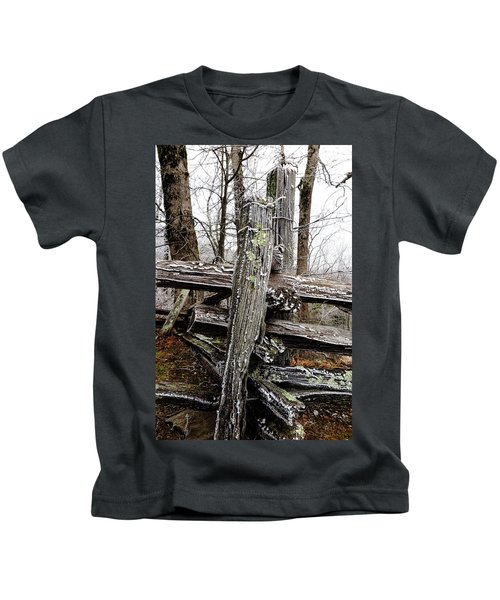 Rail Fence With Ice Kids T-Shirt